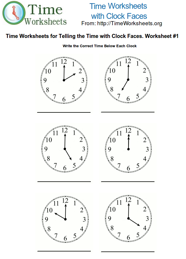 Time Math Worksheets with Clock Faces #1 | Time Worksheets Org