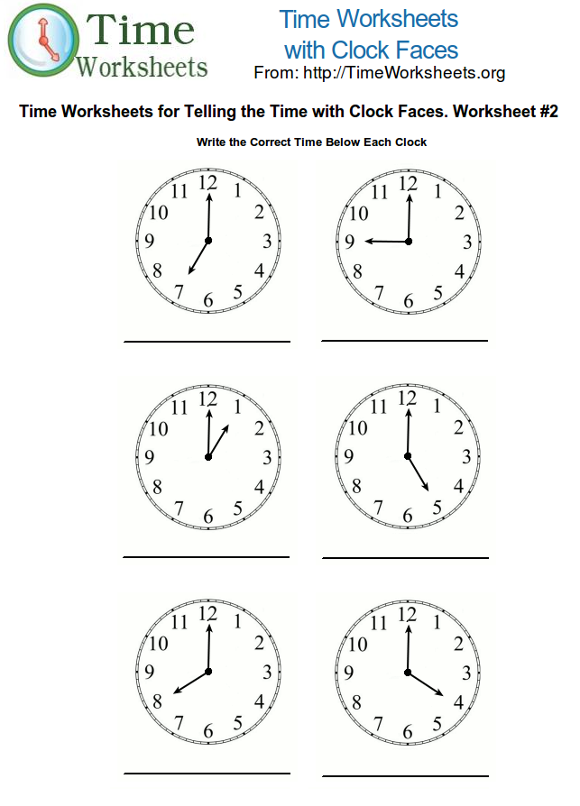 Time Math Worksheets with Clock Faces 2 – Clock Worksheet