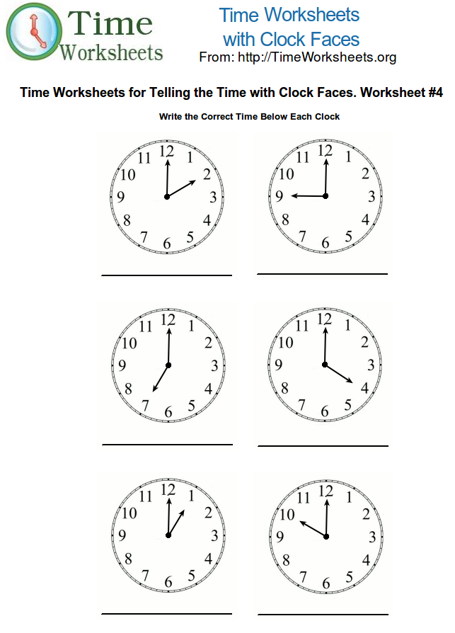 graphic about Clock Faces Printable named Year Math Worksheets with Clock Faces #4 Year Worksheets Org