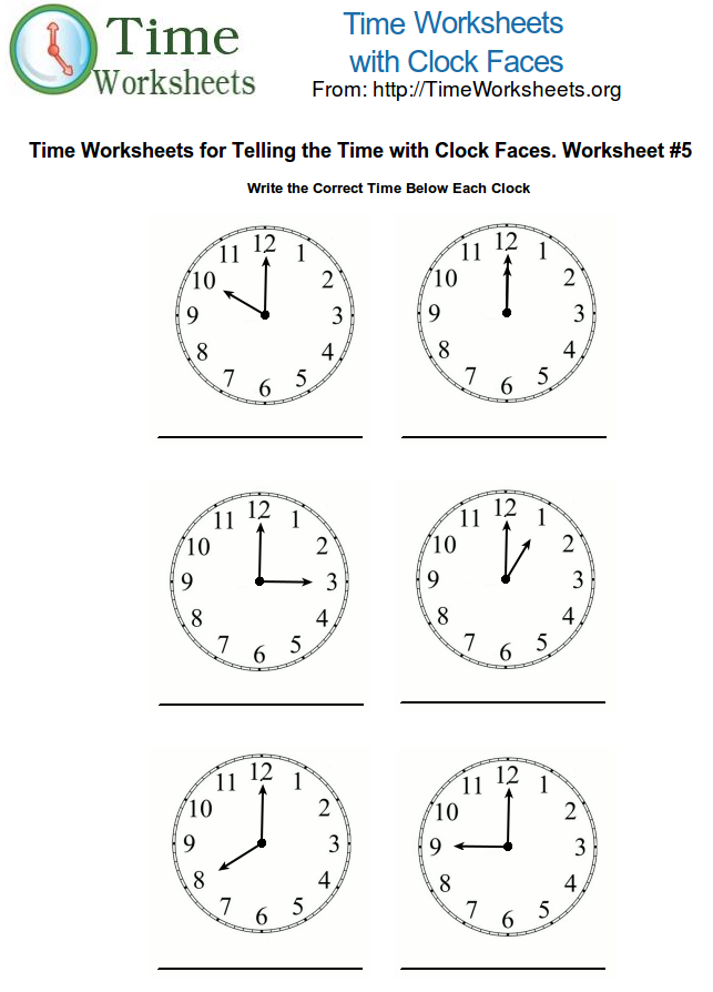 Time Math Worksheets with Clock Faces #5 | Time Worksheets Org