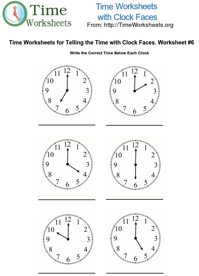 Time Math Worksheets with Clock Faces 6 – Clock Worksheet