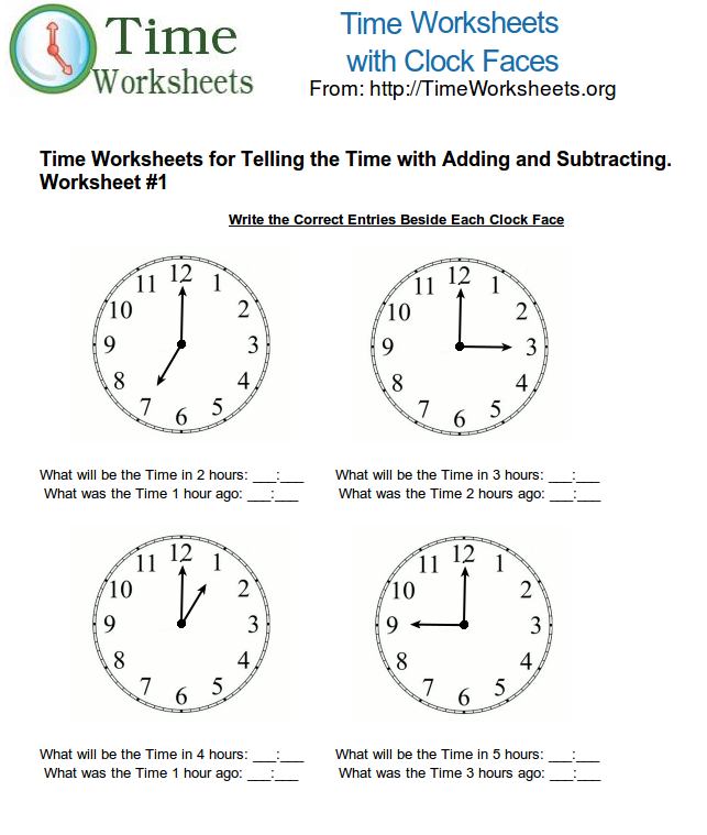 Time Math Worksheets For Telling Time With Subtracting And Adding 1