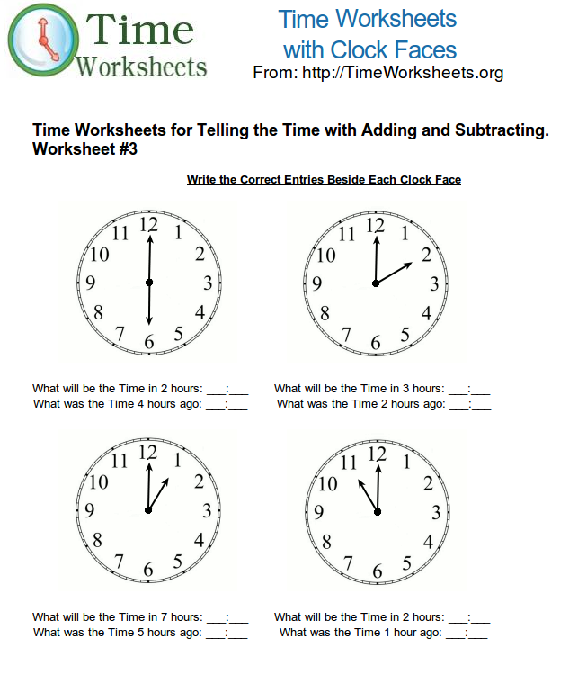 Time Math Worksheets for Telling Time with Subtracting and Adding – Math Worksheets on Time