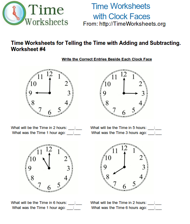 Time Math Worksheets for Telling Time with Subtracting and Adding – What Time is It Worksheet