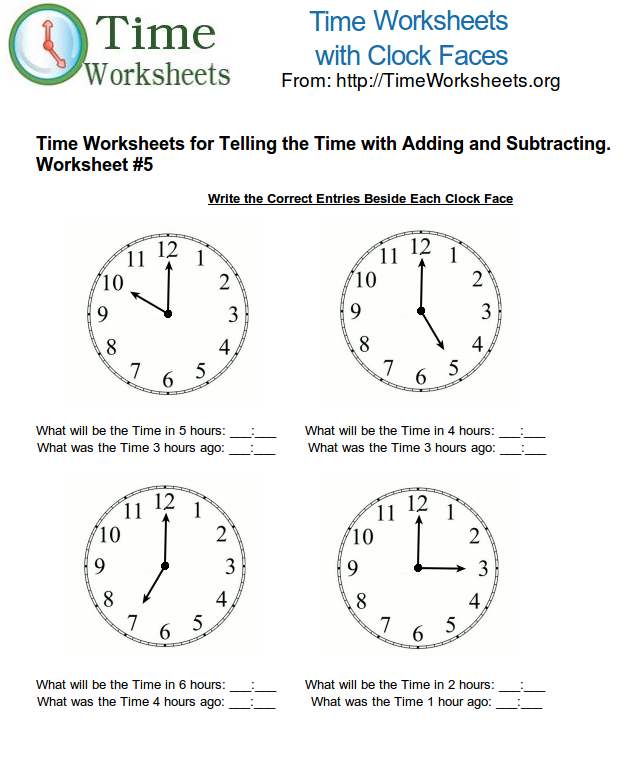Time Math Worksheets for Telling Time with Subtracting and Adding – Math Worksheet Time