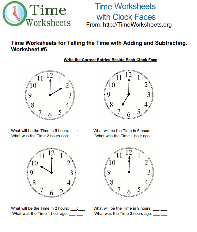 Time Math Worksheets for Telling Time with Subtracting and Adding – Adding and Subtracting Time Worksheets