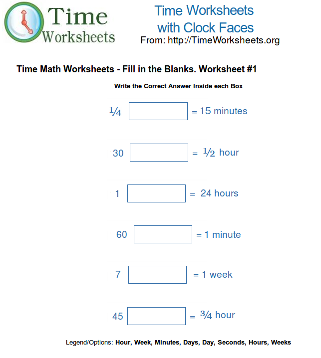 math worksheet : time math worksheets  fill in the blanks 1  time worksheets org : Math Worksheet Org
