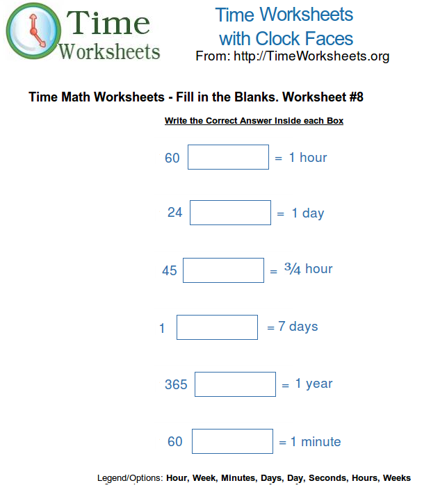 Time Math Worksheets Fill in the Blanks 8 – Blank Math Worksheets