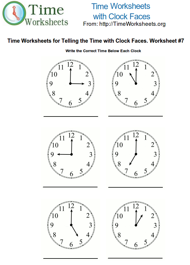 Time Math Worksheets with Clock Faces #7 | Time Worksheets Org